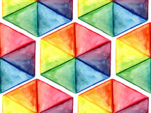 Vector  Watercolor Geometric Seamless Pattern with Hexagons Royalty Free Stock Image