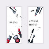 Vector watercolor Glamorous make up set of  banners with nail polish and lipstick.Creative design for card, web design background, Stock Images
