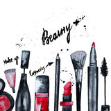 Vector watercolor Glamorous make up set of  cosmetics with nail polish and lipstick.Creative design for card, web design backgroun Stock Photos