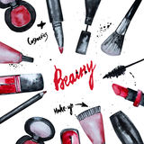 Vector watercolor Glamorous make up set of  cosmetics with nail polish and lipstick.Creative design for card, web design backgroun Royalty Free Stock Photo