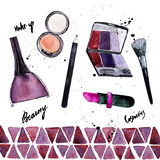 Vector watercolor Glamorous make up set of Stock Photo