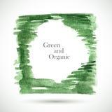 Vector watercolor green frame. Colorful texture frame. Vector handmade design elements. Art advertising template. Grunge color frame. Sketch organic frame Royalty Free Illustration
