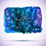 Vector watercolor grunge cosmic banner with shadow Stock Photo