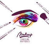 Vector watercolor hand drawn illustration of colorful womens eye and makeup brushes. Royalty Free Stock Photo