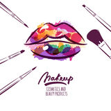Vector watercolor hand drawn illustration of colorful womens lips and makeup brushes. Watercolor background. Concept for beauty salon, cosmetics label Royalty Free Stock Photography