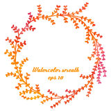 Vector watercolor hand drawn wreath with branches and leaves Stock Photo