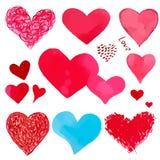 Vector watercolor hearts Stock Photos