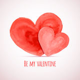 Vector watercolor hearts for Valentine's day cards designs Royalty Free Stock Images