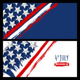 Vector watercolor horizontal banners and backgrounds. 4th of July, USA Independence Day. Watercolor USA flag on white and blue background. Design for greeting Royalty Free Stock Photography