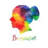 Vector  watercolor human head icon. Female. Woman. Watercolor creative concept. Vector concept - creative person. Lettering. quote Stock Photo