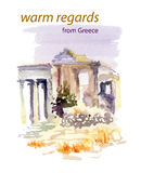 Vector watercolor illustration of ancient Greece  ruins Royalty Free Stock Photos