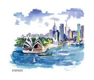 Vector watercolor illustration of Australia Royalty Free Stock Photos