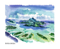 Vector watercolor illustration of Bora Bora sightseeings and seacoast Royalty Free Stock Photo