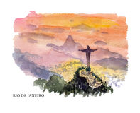Vector watercolor illustration of Brazil sightseeings Stock Image