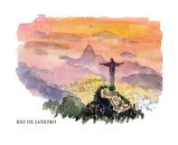 Vector watercolor illustration of Brazil sightseeings vector illustration