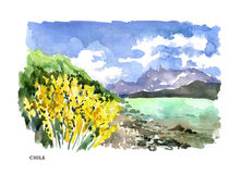 Vector watercolor illustration of Chile sightseeings Royalty Free Stock Photos