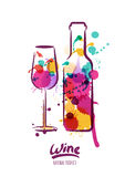 Vector watercolor illustration of colorful wine bottle and wine glass. Royalty Free Stock Photos