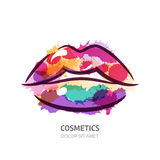 Vector watercolor illustration of colorful womens lips. Royalty Free Stock Photo