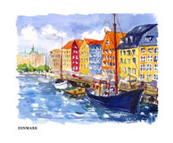 Vector watercolor illustration of Denmark Royalty Free Stock Photography