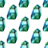 Vector Watercolor illustration of diamond crystals - seamless pattern. Stone jewel background. Can be used for textile Royalty Free Stock Images