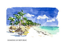 Vector watercolor illustration of Dominican Republic Stock Photo