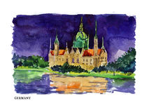 Vector watercolor illustration of Germany Royalty Free Stock Photography
