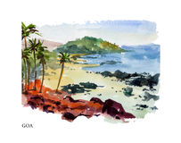 Vector watercolor illustration of Goa Stock Photos