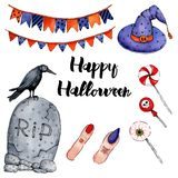 Vector watercolor illustration for Happy Halloween 3 stock illustration