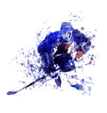 Vector watercolor illustration of hockey player Royalty Free Stock Photos