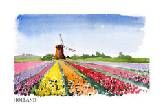 Vector watercolor illustration of Holland Stock Photography
