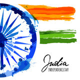 Vector watercolor illustration of India flag and hand drawn calligraphy. Stock Image