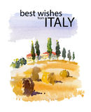 Vector watercolor illustration of Italy village shield country side sunny summer nature with text place. Good for warm memory postcard design, any graphic Stock Photo