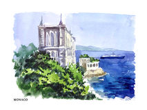 Vector watercolor illustration of Monaco Royalty Free Stock Photos