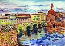 Vector watercolor illustration of Saint-Petersburg sightseeings Royalty Free Stock Photo