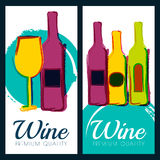 Vector watercolor illustration of wine bottle and glass. Concept Royalty Free Stock Image