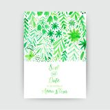 Vector watercolor invitation card with flowers and plants. Floral  design. Original floral background, greeting card . Business ca. Rd template on wood texture Royalty Free Stock Image