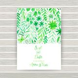 Vector watercolor invitation card with flowers and plants. Floral  design. Original floral background, greeting card . Business ca Stock Image