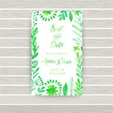 Vector watercolor invitation card with flowers and plants. Floral  design. Original floral background, greeting card . Business ca Royalty Free Stock Photo