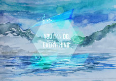 Vector Watercolor landscape motivation Royalty Free Stock Photography