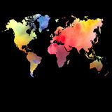 Vector watercolor map on a black background Stock Photo