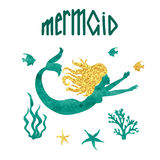 Vector watercolor mermaid silhouette Royalty Free Stock Images