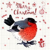 Vector watercolor  Merry Christmas greeting card with bird Stock Photo
