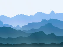 Vector watercolor misty mountains landscape Royalty Free Stock Photo