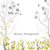 Vector watercolor natural background with leaves, grass, flowers and trees on white background. Royalty Free Stock Photography