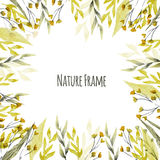 Vector watercolor natural background with leaves Stock Photo