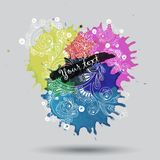 Vector watercolor paint with abstract doodles Royalty Free Stock Image