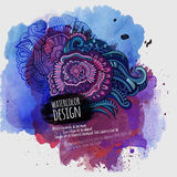Vector watercolor paint abstract floral design Royalty Free Stock Photos