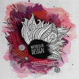 Vector watercolor paint abstract floral design Stock Photography