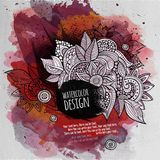 Vector watercolor paint abstract floral design Stock Photos