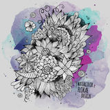 Vector watercolor paint abstract floral design Royalty Free Stock Photo